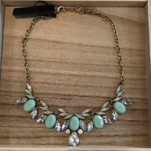 J Crew jeweled mint and crystal necklace NWT